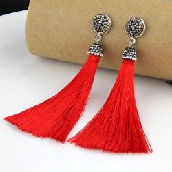 Pendientes fleco color rojo