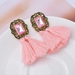 Pendientes fleco color rosa
